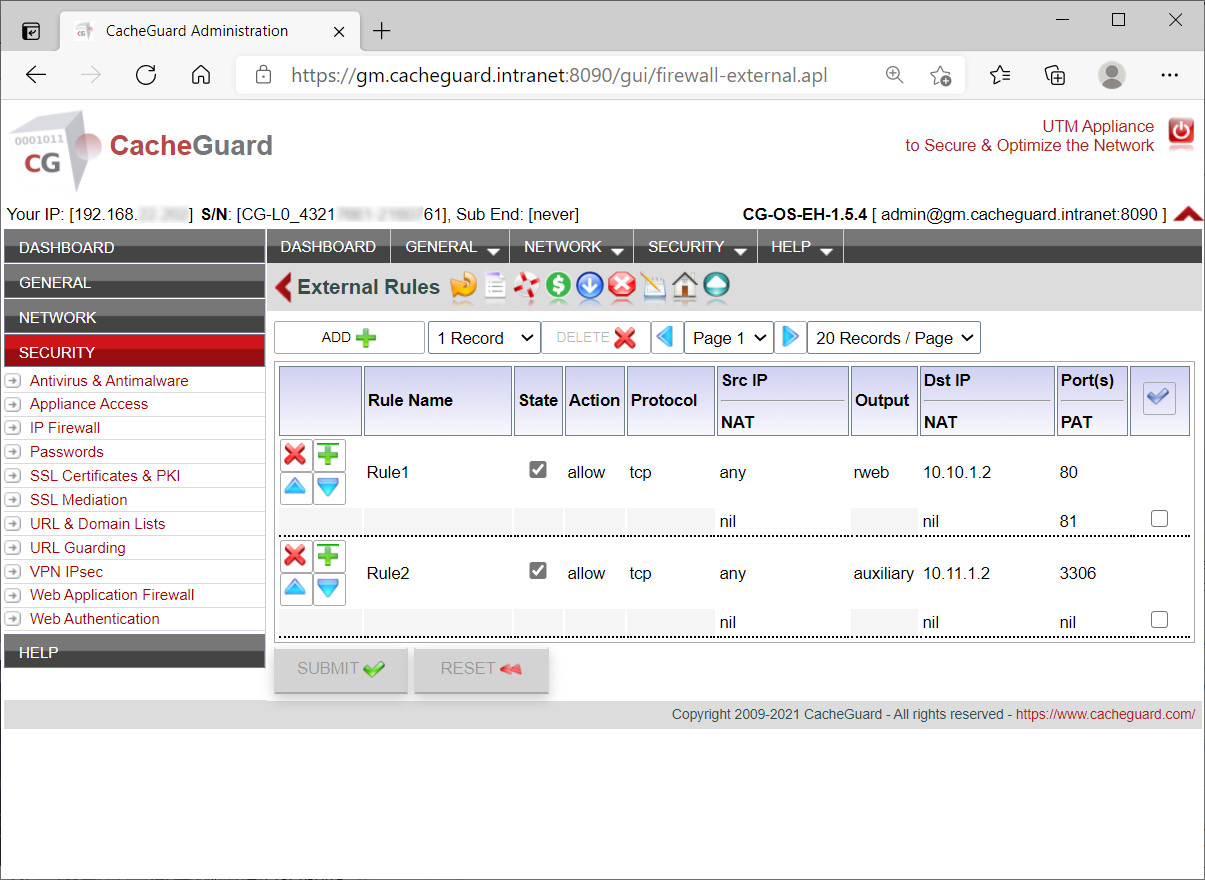 CacheGuard Web GUI - Firewall Settings